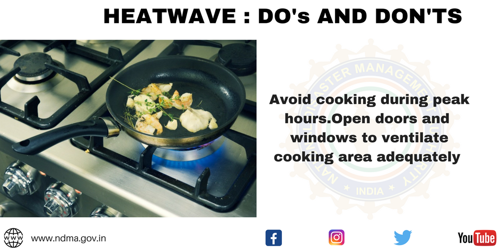 Avoid cooking during peak hours. Open doors and windows to ventilate cooking area adequately