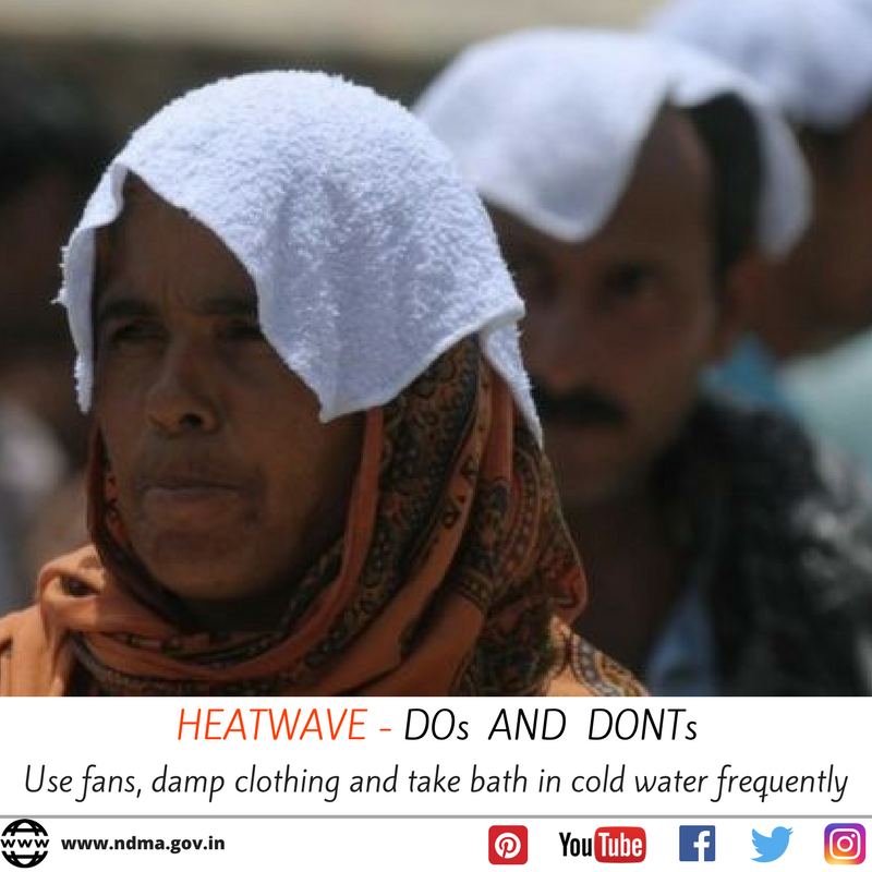 Use fans, damp clothing and  take bath in cold water frequently