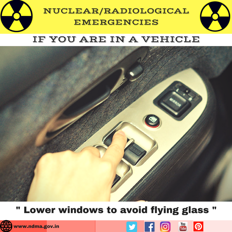 Lower windows to avoid flying glass