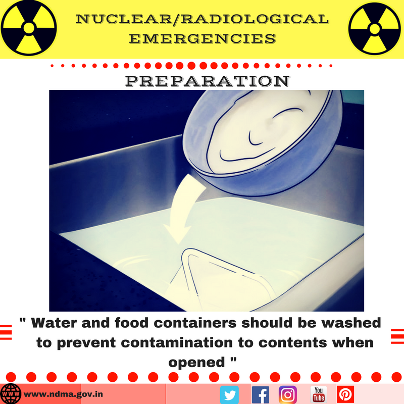 Water and food containers should be washed to prevent contamination