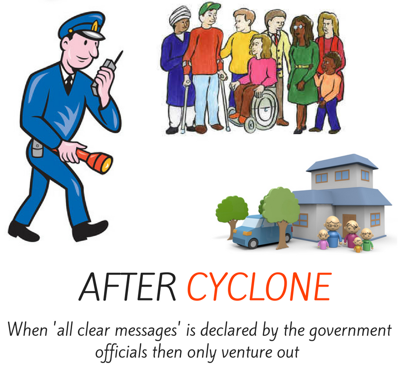 After cyclone - when 'all clear messages' is declared by the government officials then only venture out.