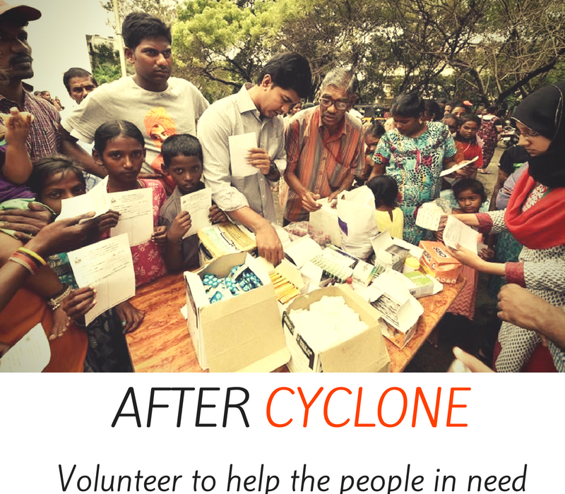 After cyclone - volunteer to help people in need.