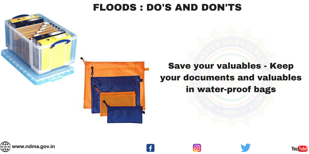 Save your valuables - keep your documents and valuables in water-proof bags