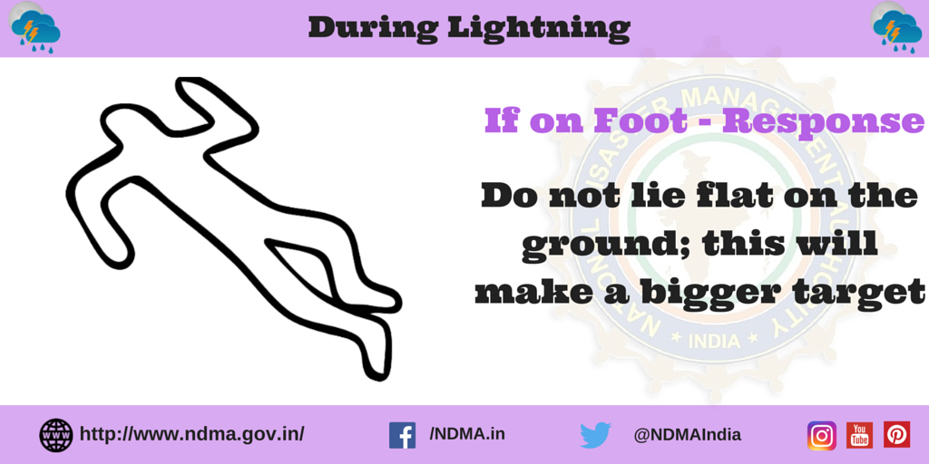 If on foot - response - do not lie flat on the ground; this will make you a bigger target