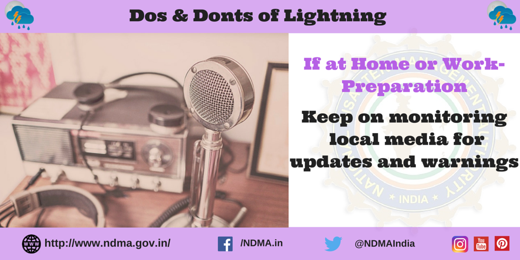 If at home or work - preparation - keep on monitoring local media for updates and warnings