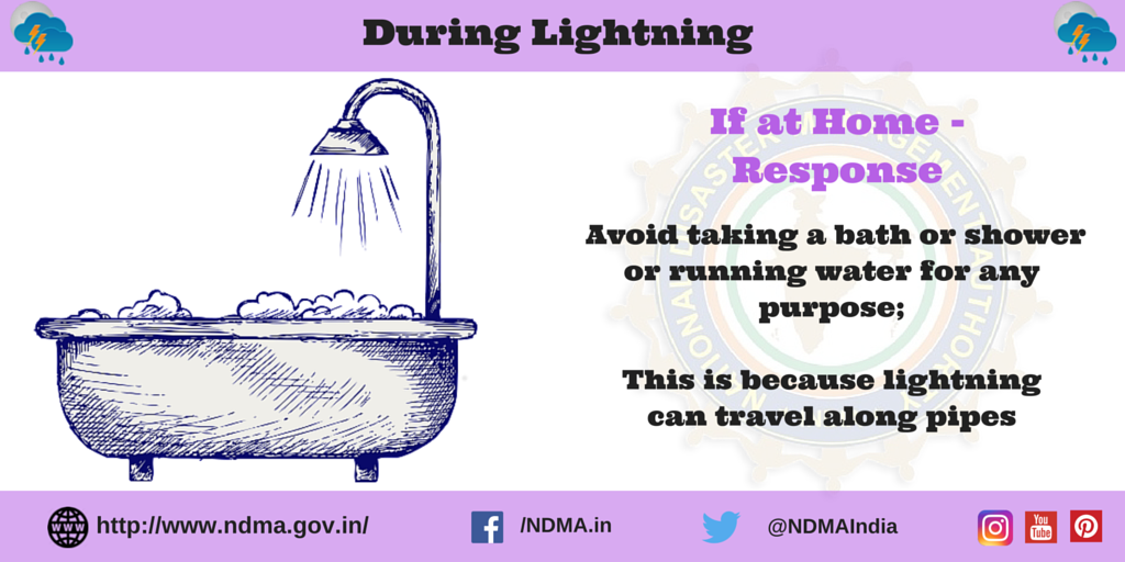 If at home - response - avoid taking bath or shower or running water for any purpose; this is because lightning can travel along pipes