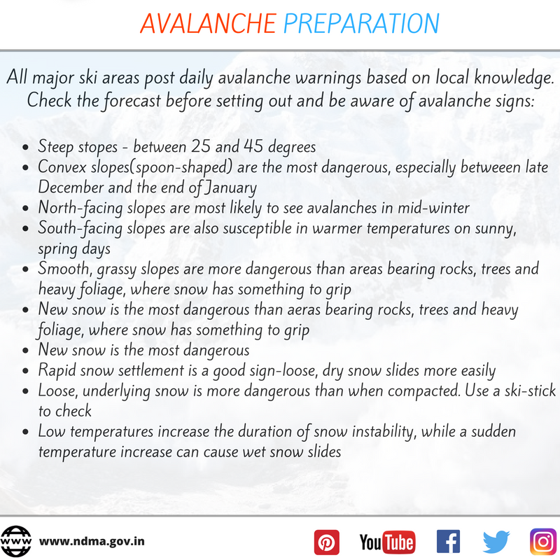 Avalanche preparation - check the forecast before setting out and be aware of avalanche signs.