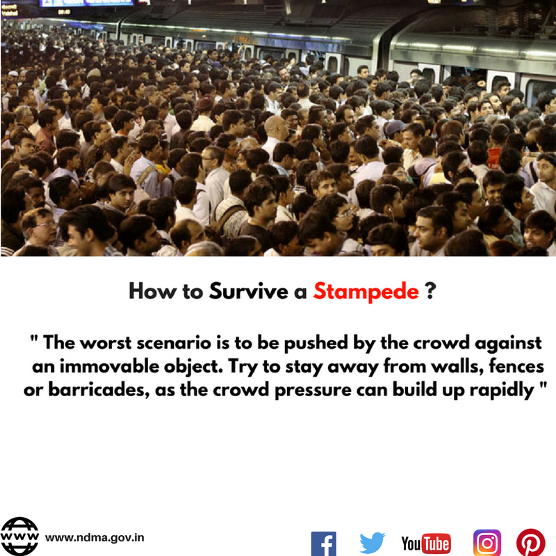 The worst scenario is to be pushed by the crowd against an immovable object. Try to stay away from walls, fences or barricades as the crowd pressure can build up rapidly