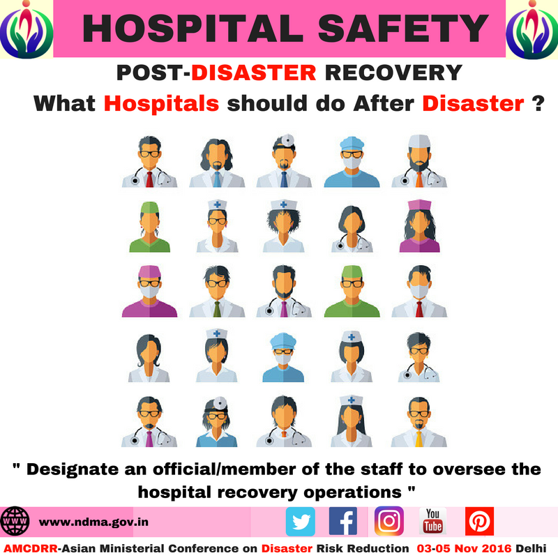 Designate an official /member to the staff to oversee the hospital recovery operations