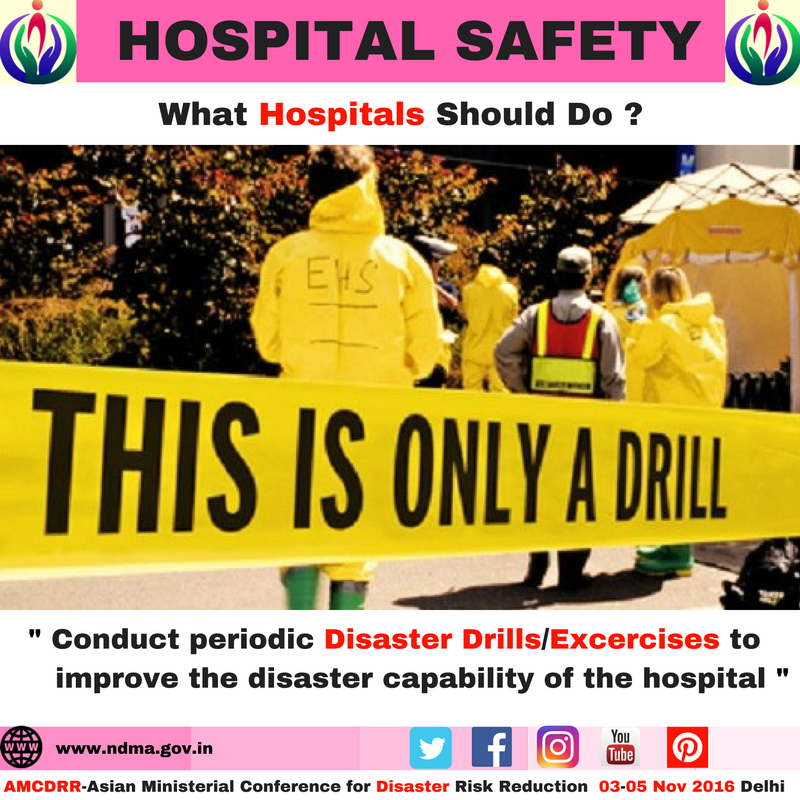 Conduct periodic disaster drills/exercises to improve the disaster capability of the hospital