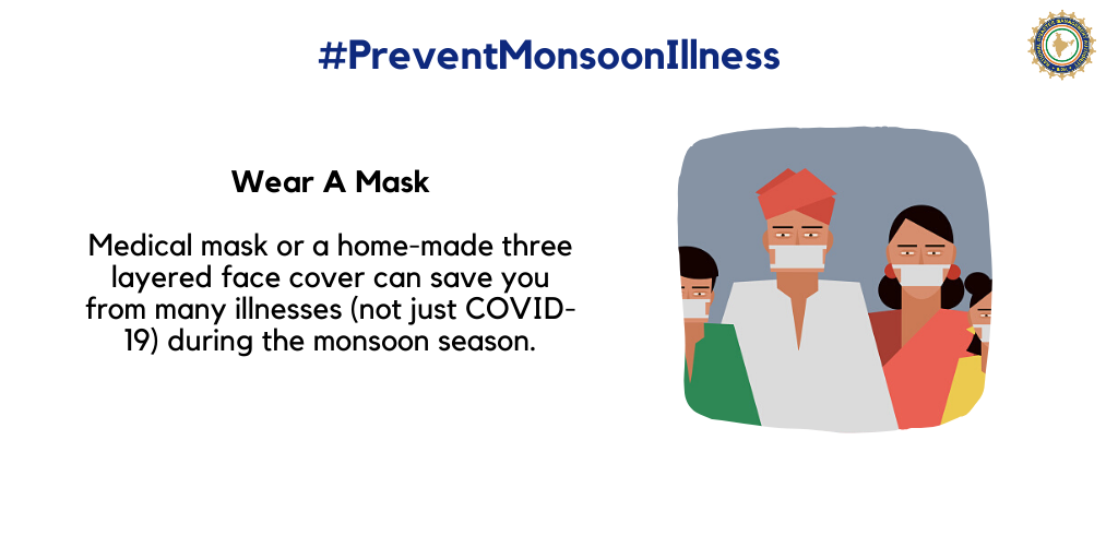 Wear a mask to protect yourself from monsoon-related common illnesses