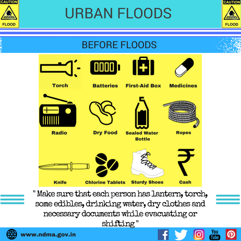 Before urban flood – make sure that each person has lantern, torch, some edibles, drinking water, dry clothes and necessary documents while evacuating or shifting