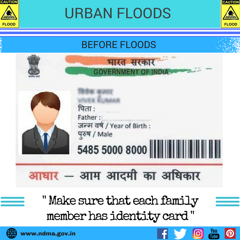 Before urban flood – make sure that each family member has an identity card